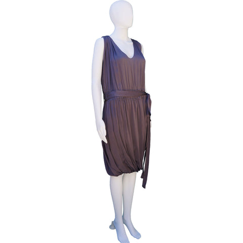 LANVIN PURPLE GREY SLEEVELESS SILK DRESS on Leef luxury authentic designer resale consignment