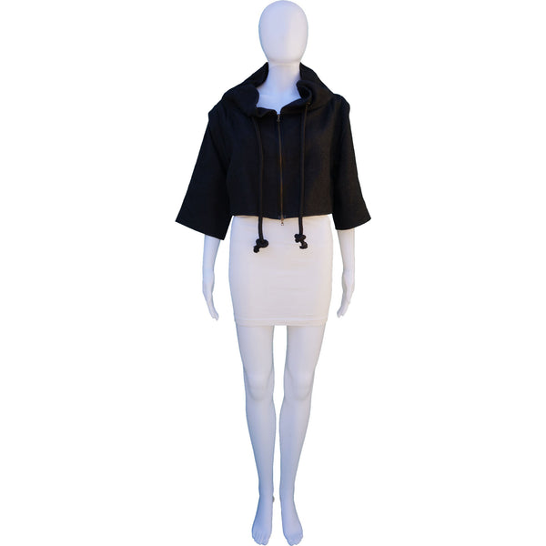 MARNI STAND UP COLLAR CROPPED DETACHABLE SLEEVE JACKET