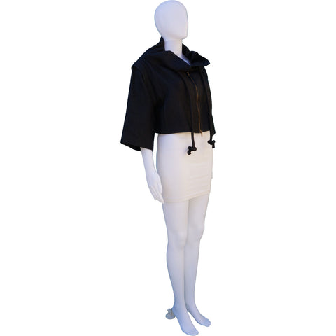 MARNI STAND UP COLLAR CROPPED DETACHABLE SLEEVE JACKET - leefluxury.com