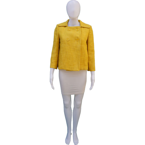 MILLY YELLOW TWEED CROPPED JACKET on Leef luxury authentic designer luxury resale