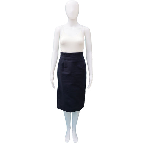 NAVY COTTON TWEED HIGH WAIST PENCIL SKIRT - leefluxury.com