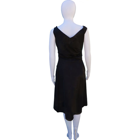 PRADA BOW-ACCENTED MIDI DRESS - leefluxury.com