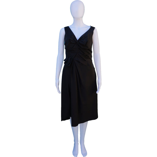 PRADA BOW-ACCENTED MIDI DRESS