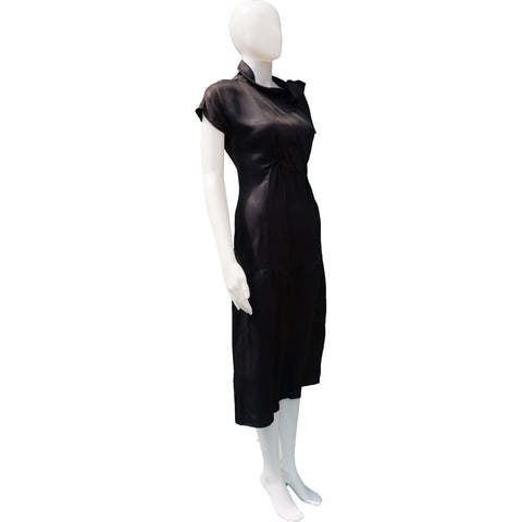 PRADA SILK WITH TIE NECK DRESS ON LEEF LUXURY AUTHENTIC DESIGNER RESALE