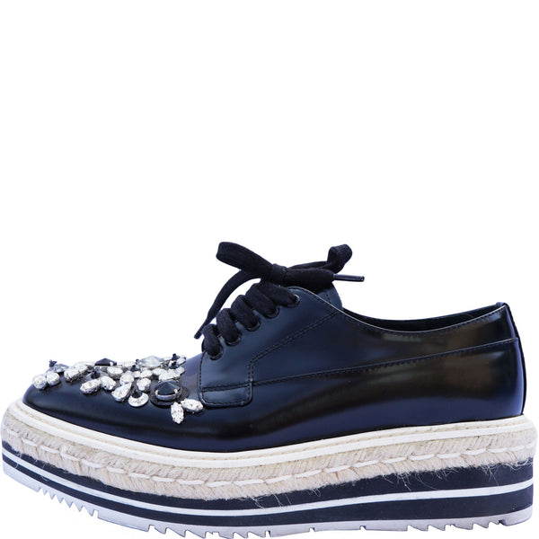 PRADA SWAROVSKI CRYSTAL EMBELLISHED OXFORDS