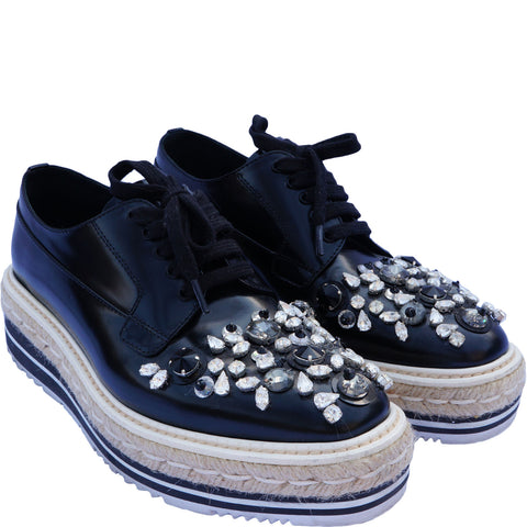 PRADA SWAROVSKI CRYSTAL EMBELLISHED OXFORDS - leefluxury.com