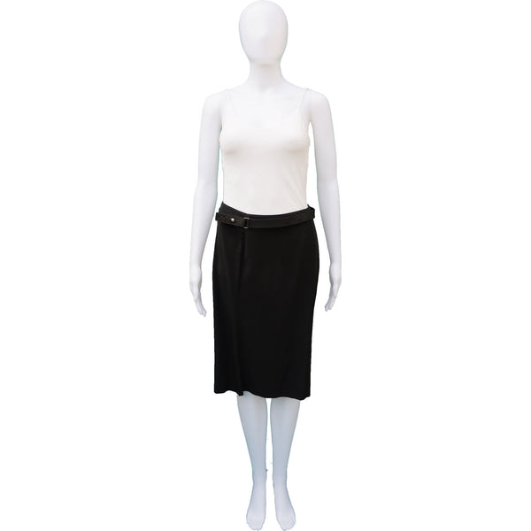 GUCCI SILK PANEL SKIRT WITH FABRIC AND LEATHER BELT