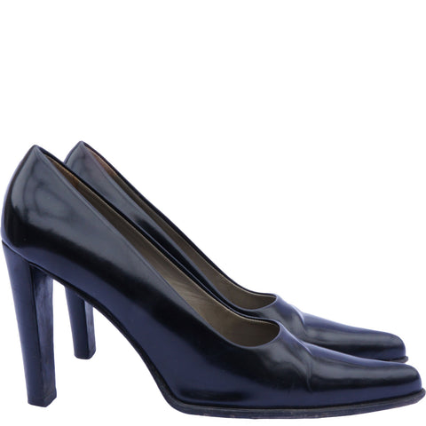 PRADA BLACK POINTED-TOE PUMPS - leefluxury.com