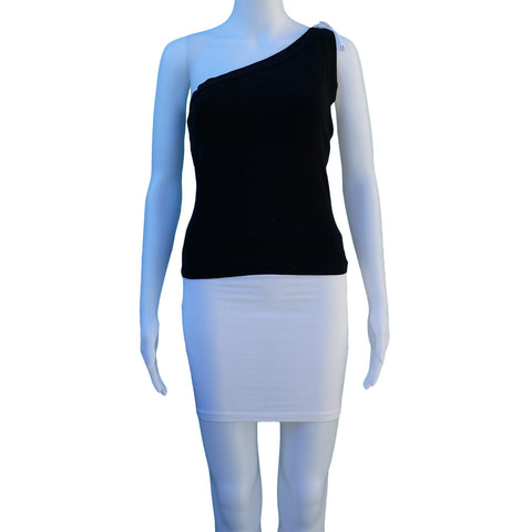 RALPH LAUREN BLACK ONE SHOULDER TOP - leefluxury.com