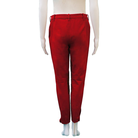 RALPH LAUREN COTTON & SUEDE RED JODHPUR PANTS - leefluxury.com