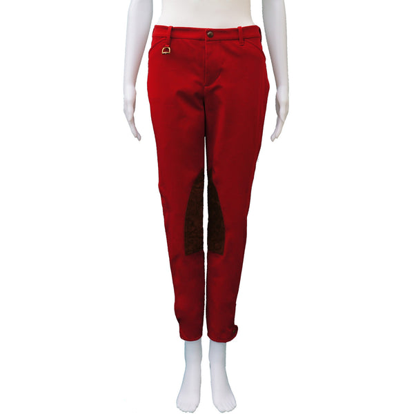 RALPH LAUREN COTTON & SUEDE RED JODHPUR PANTS