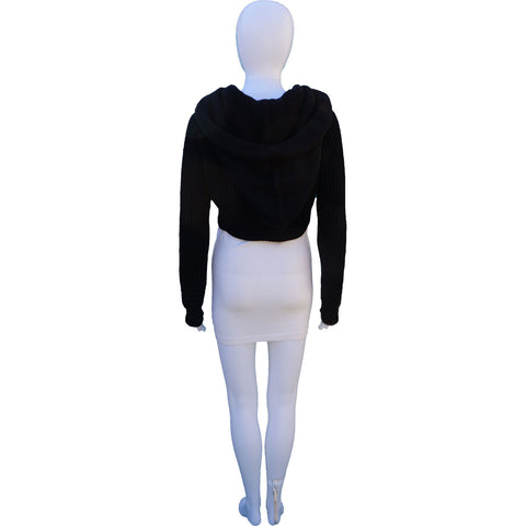 ROBERT RODRIGUEZ KNIT WOOL CROPPED HOODIE on Leef Luxury authentic designer consignment