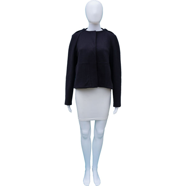 STELLA MCCARTNEY NAVY HOODED CROPPED SWING JACKET
