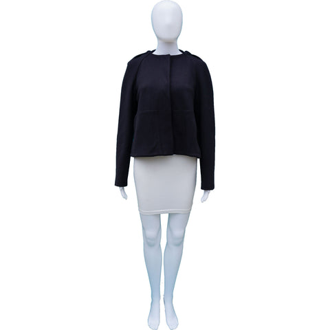 STELLA MCCARTNEY NAVY HOODED CROPPED SWING JACKET - leefluxury.com