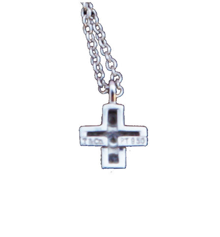 TIFFANY & CO. PLATIMUM & DIAMOND CROSS PENDANT NECKLACE