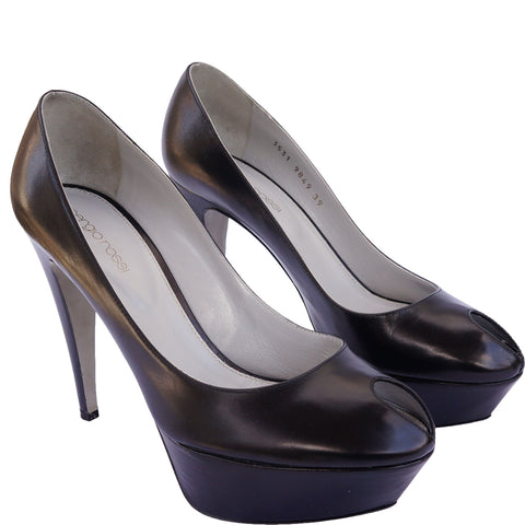 SERGIO ROSSI PEEP-TOE PLATFORM PUMPS on Leef luxury authentic designer resale consignment
