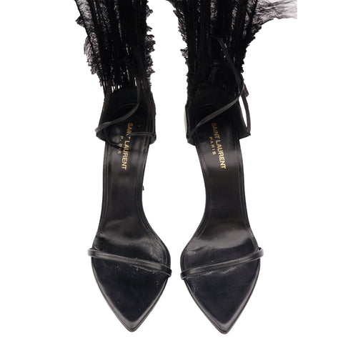 SAINT LAURENT 2018 TALITHA MOVIE CRYSTAL LEATHER ANKLE-WRAP SANDALS - leefluxury.com