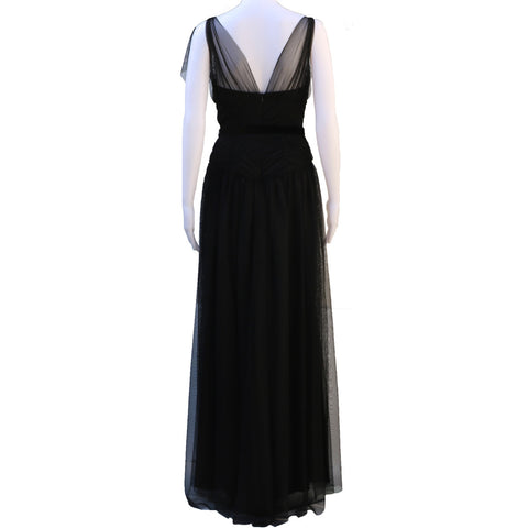VERA WANG RUCHED BODICE TULLE GOWN - leefluxury.com