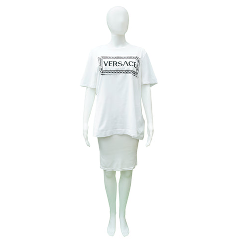 VERSACE EMBROIDERED LOGO T-SHIRT Shop online the best value on authentic designer used preowned consignment on Leef Luxury.