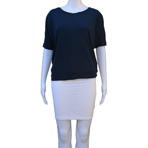VINCE BLUE RAGLAN SLEEVED DRAPED TOP - leefluxury.com