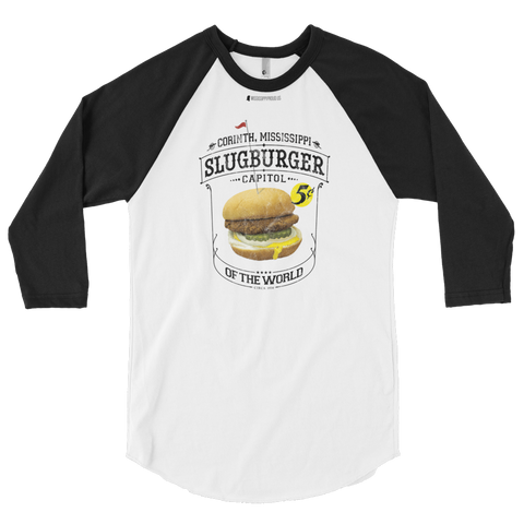 Slugburger Capitol of the World \ Distressed Print Design \ American Apparel  BB453 50/50 3/4 Sleeve Raglan Shirt