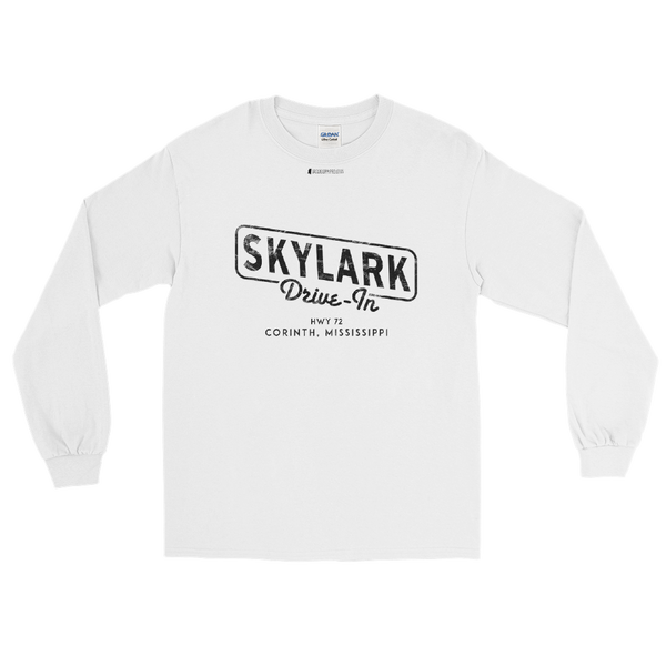 Skylark Drive In \ Black Distressed Print Design \ Gildan™ 2400 Men's Long Sleeve Shirt