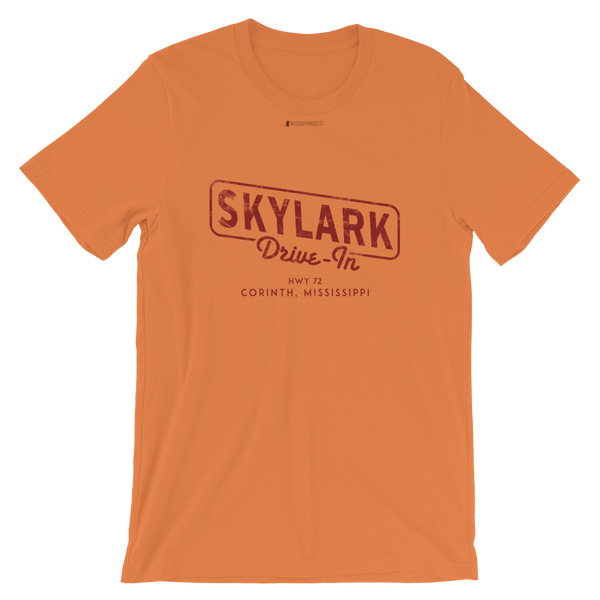 Skylark Drive In \ Red Distressed Print Design \ Bella + Canvas 3001™ Unisex Premium T-Shirt
