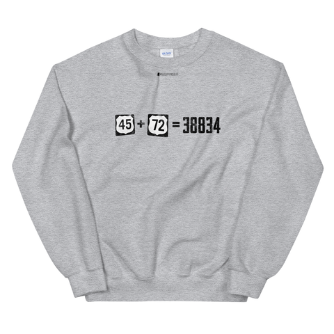 45+72=38834 \ Distressed Print Design \ Gildan™ 18000 Unisex Crew Neck Sweatshirt