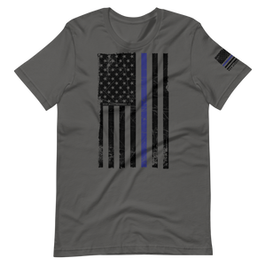 USA Blue Line Flag \ Distressed Print Design \ Bella + Canvas™ Unisex T-Shirt