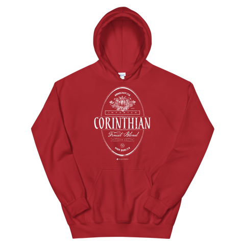 Imported Corinthian \ Distressed Print Design (white) \ Gildan™ 18500 Unisex Hooded Sweatshirt