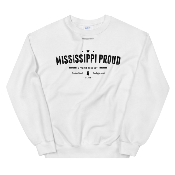 MISSISSIPPI PROUD \ Distressed Print Design \ Gildan™ 18000 Unisex Crew Neck Sweatshirt