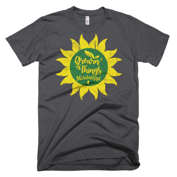 Growin' Things Mississippi \ Distressed Print Design \ American Apparel™ Short-Sleeve T-Shirt