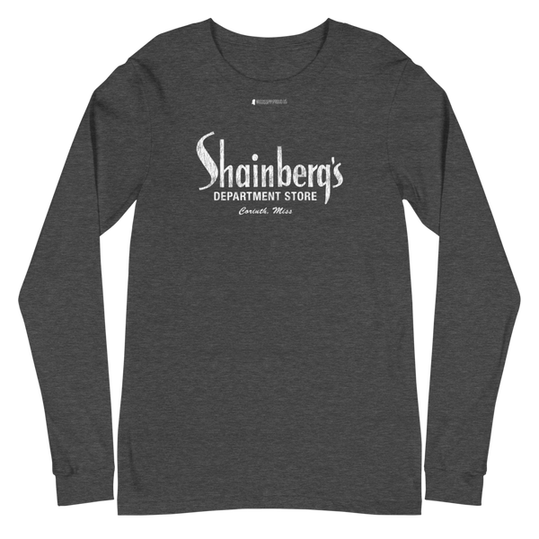 Shainberg's Dept Store \ White Distressed Print Design \ Bella + Canvas 3501™ Unisex Long Sleeve Tee