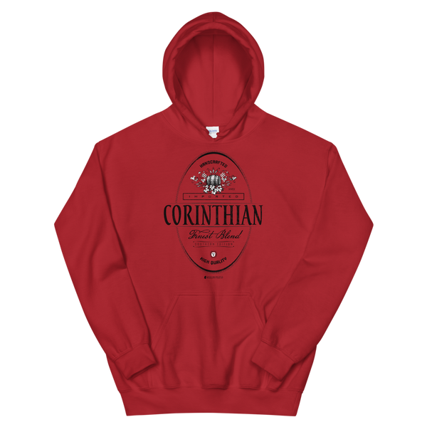 Imported Corinthian \ Distressed Print Design (black) \ Gildan™ 18500 Unisex Hooded Sweatshirt