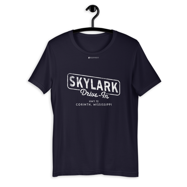 Skylark Drive In \ White Distressed Print Design \ Bella + Canvas 3001™ Unisex Premium T-Shirt
