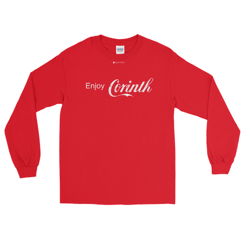 Enjoy Corinth \ Distressed Print Design \ Gildan™ 2400 Men's Long Sleeve Shirt