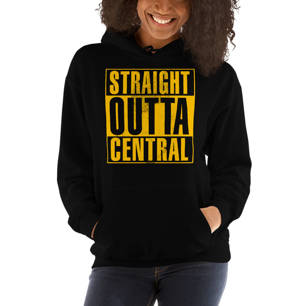 STRAIGHT OUTTA CENTRAL \ Distressed Print Design \ Gildan 18500 Unisex Hooded Sweatshirt