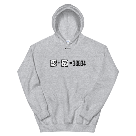 45+72=38834 \ Distressed Print Design \ Gildan™ 18500 Unisex Hooded Sweatshirt