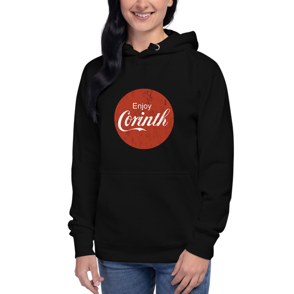 Enjoy Corinth (circle) \ Distressed Print Design \ Premium Unisex Hoodie