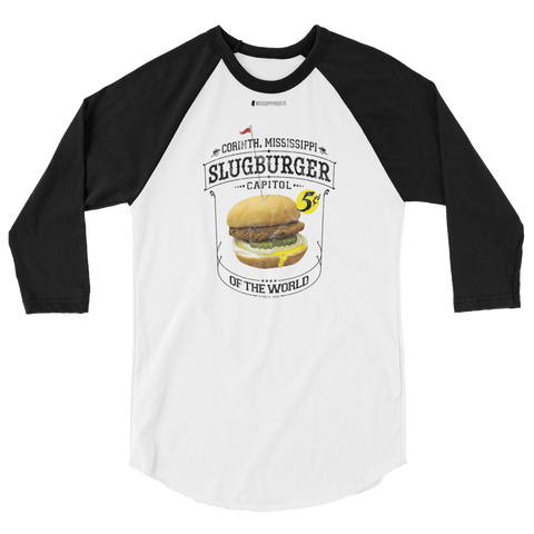 Slugburger Capitol of the World \ Distressed Print Design \ Unisex 3/4 Sleeve Raglan Shirt | Tultex 245