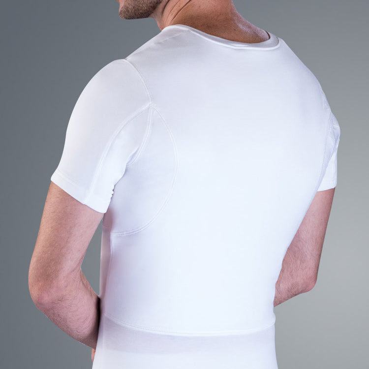Breathable sweat shield covers back area and guaranteed to stop back sweat marks