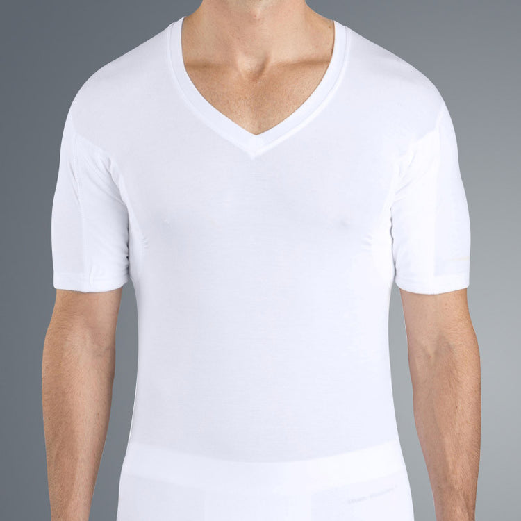 Deep v neck design for open collared shirt or stay sharp lay flat crew neck design