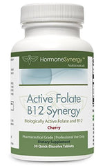 Active Folate B12 Synergy | 1000 mcg 5-MTHF plus 2500 mg B12 | Quick Disolve Cherry Tablets
