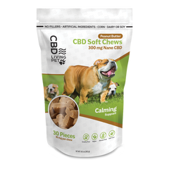 Living Pet Calming Dog Chews - Peanut Butter Flavor 300 mg