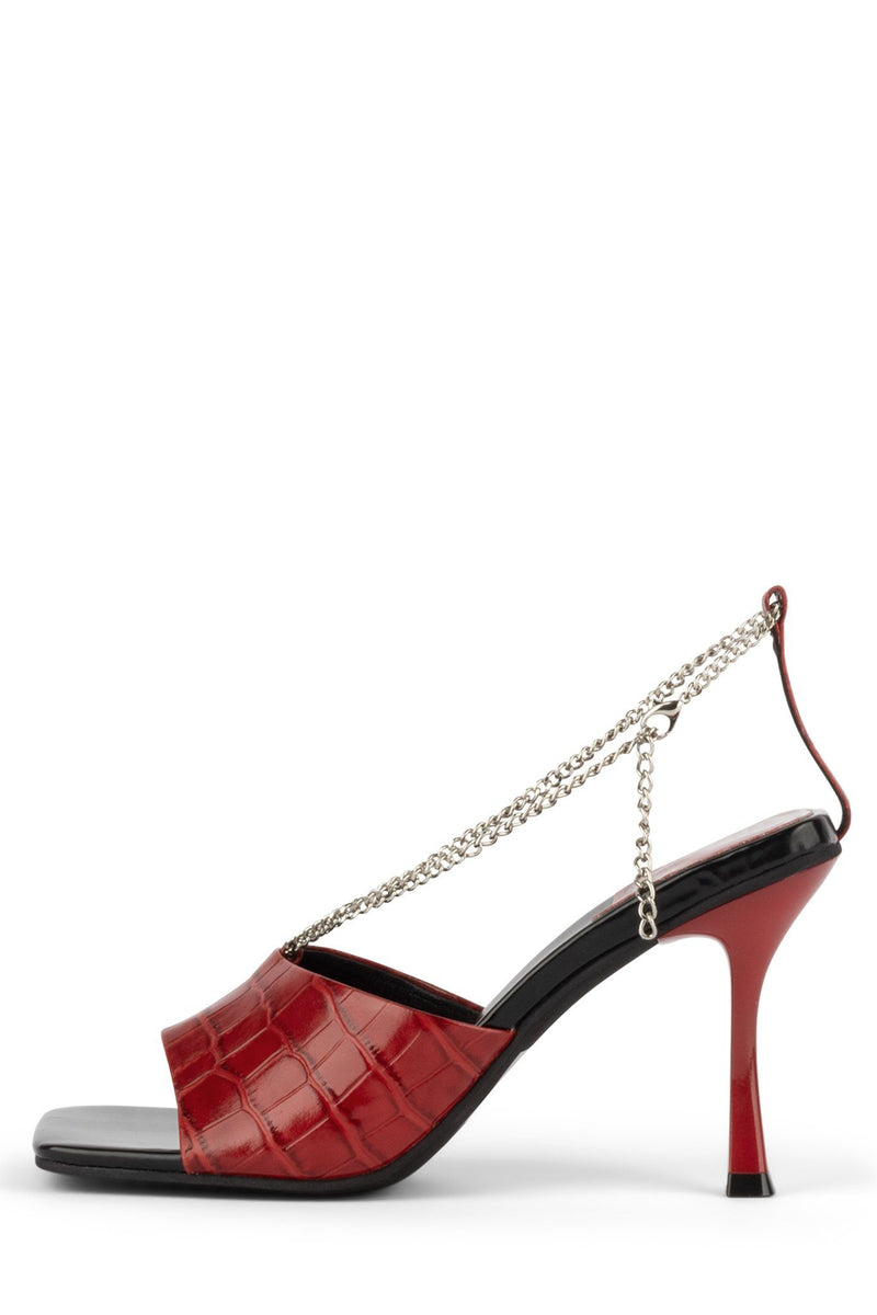 AMELINE Heeled Sandal YYH Red Croco 6