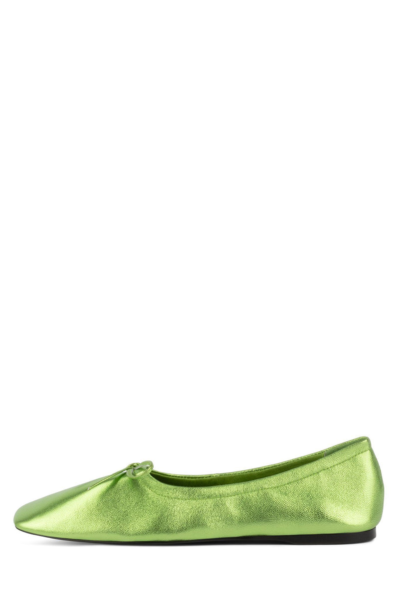 BALLERINE Flat Jeffrey Campbell Green Metallic 6