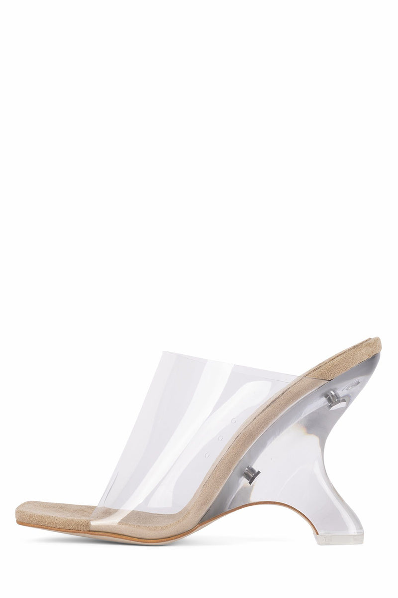 BARE Jeffrey Campbell Nude Suede Clear 6