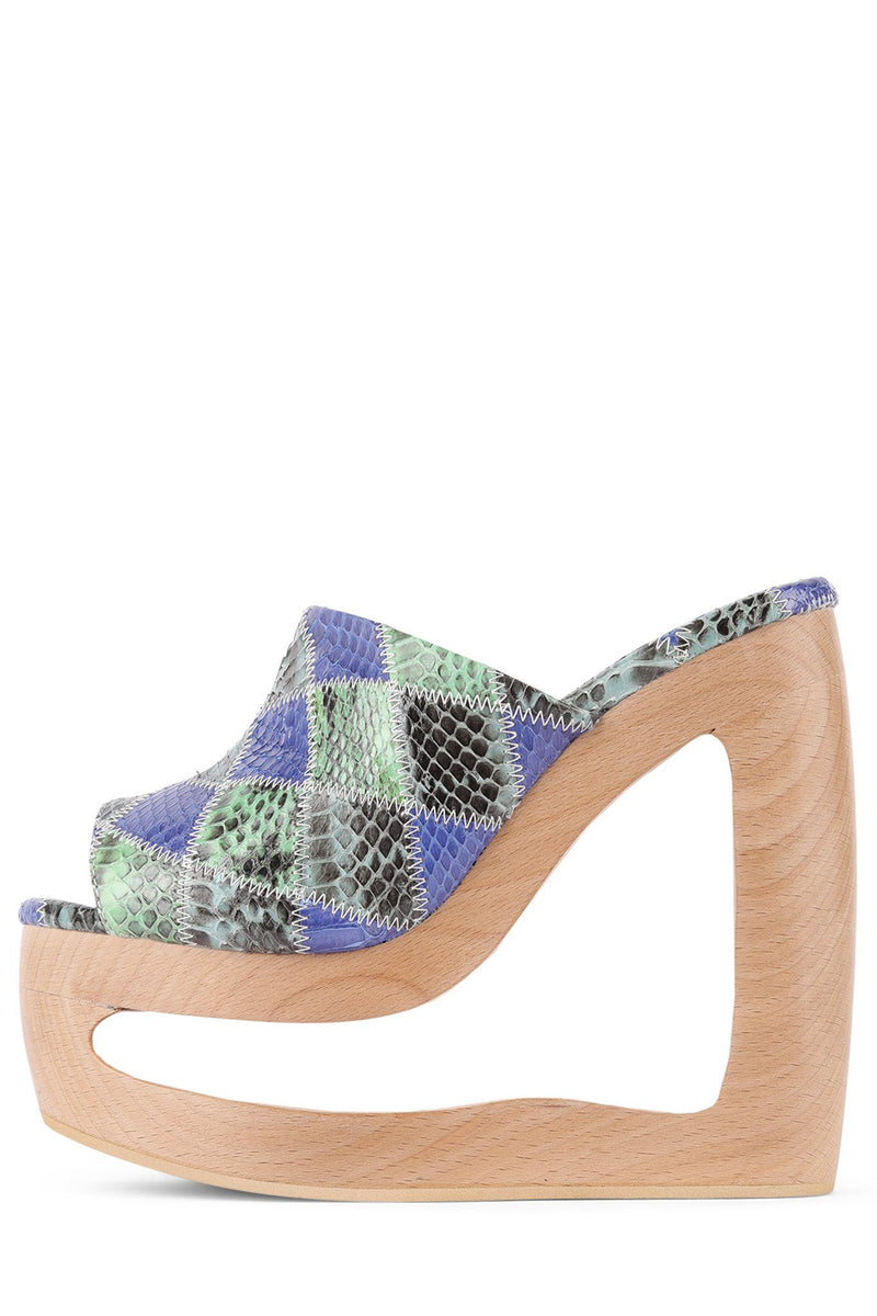 BLAZER Wedge Sandal HS Blue Green Exotic Patchwork 6