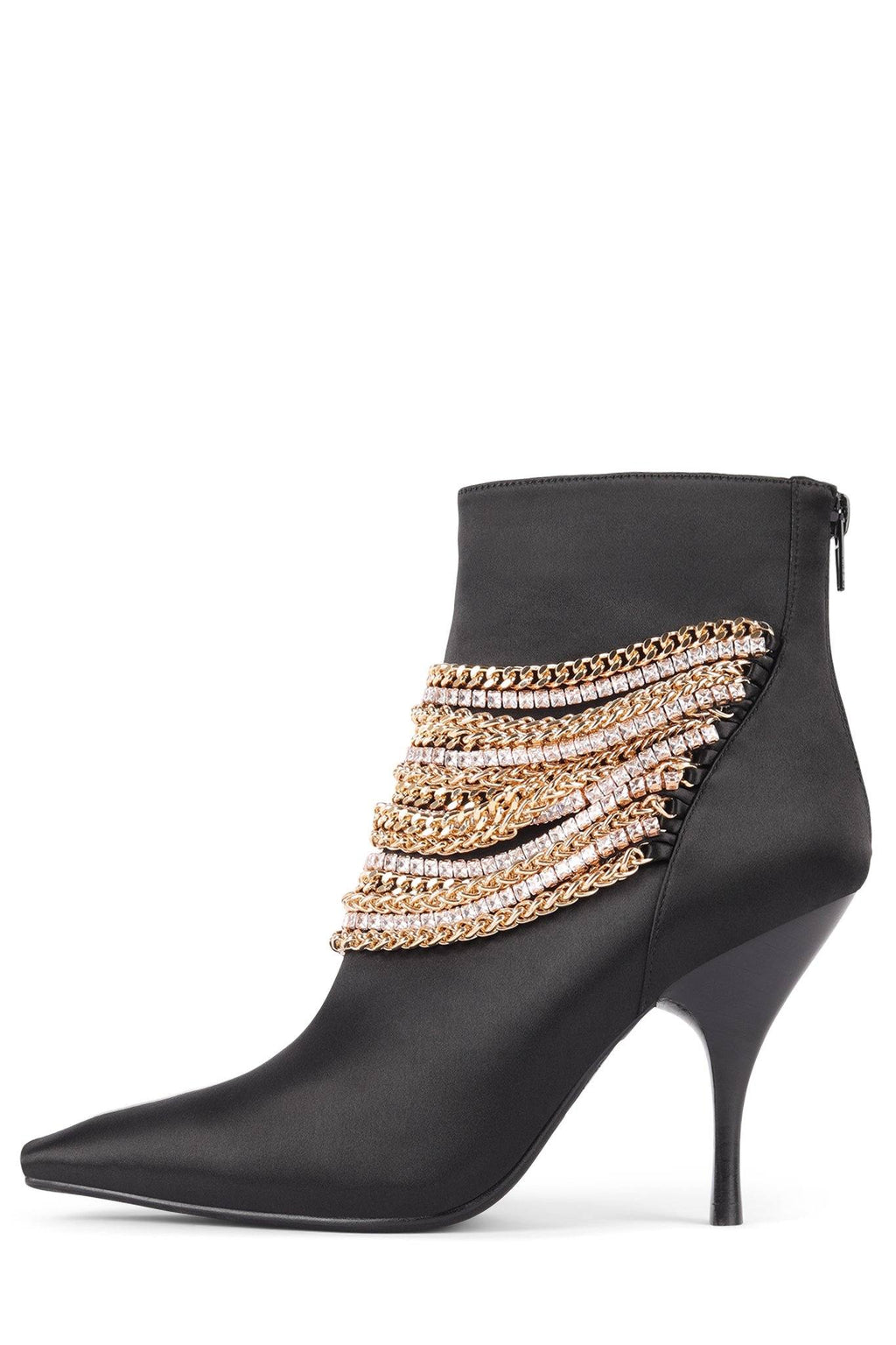 CHAINGE Heeled Bootie STRATEGY Black Satin Gold 6