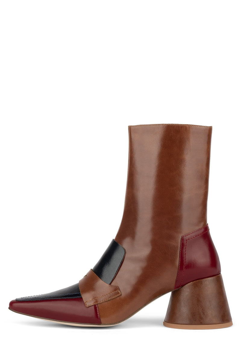 COOPED Heeled Bootie YYH Red Navy Tan 6